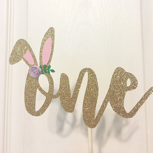 One Cake Topper, Bunny Cake Topper, Some Bunny Is One Cake Topper