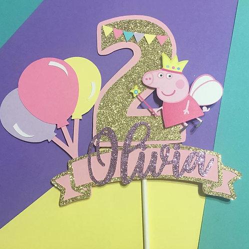 Peppa Pig Inspired Cake Topper