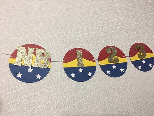 Wonder Woman Inspired 12 month banner