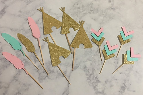 Wild One Cupcake Toppers, Boho Cupcake Toppers, Tribal Cupcake Toppers