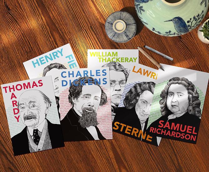 Postcard set: Male pioneers of the novel