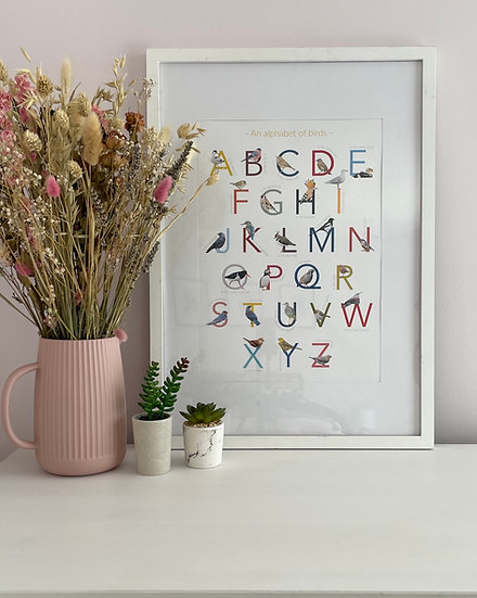 Alphabet of birds print