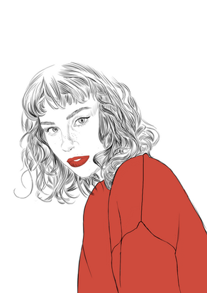 Woman in a red top