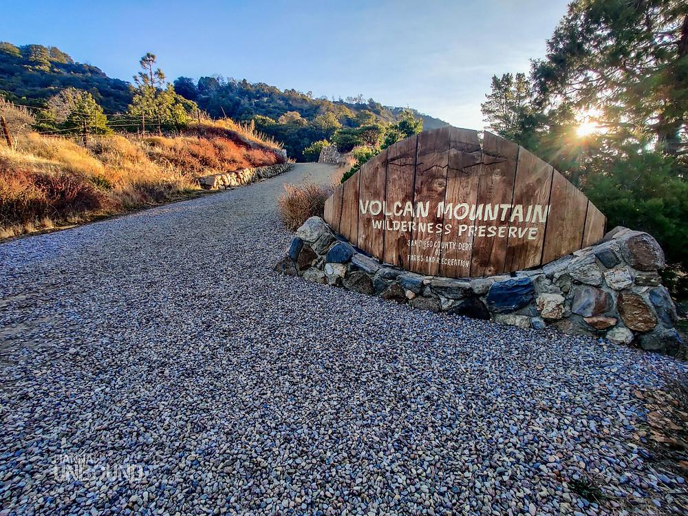 Volcan Mountain wilderness preserve sign in Julian California