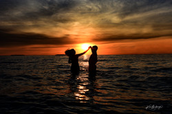 Engagement Photos in the Water at Sunset