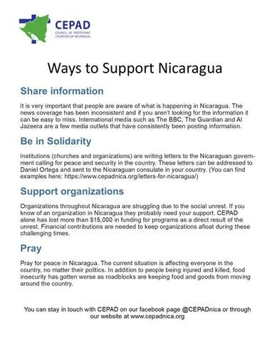 CEPAD Ways to Support Nicaragua