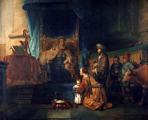 """Painting of """"Anna Presenting Her Son Samuel to the Priest Eli"""" by Gerbrand van den Eeckhout"""