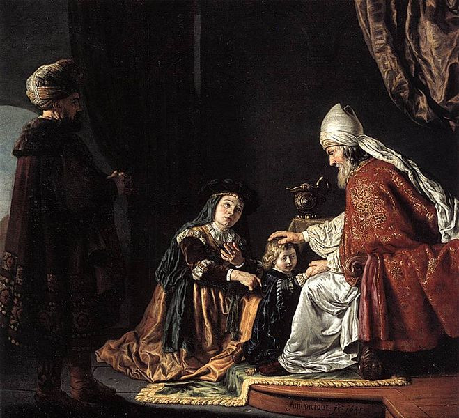 """Painting of """"Hannah Giving Her Son Samuel to the Priest"""" by Jan Victors"""