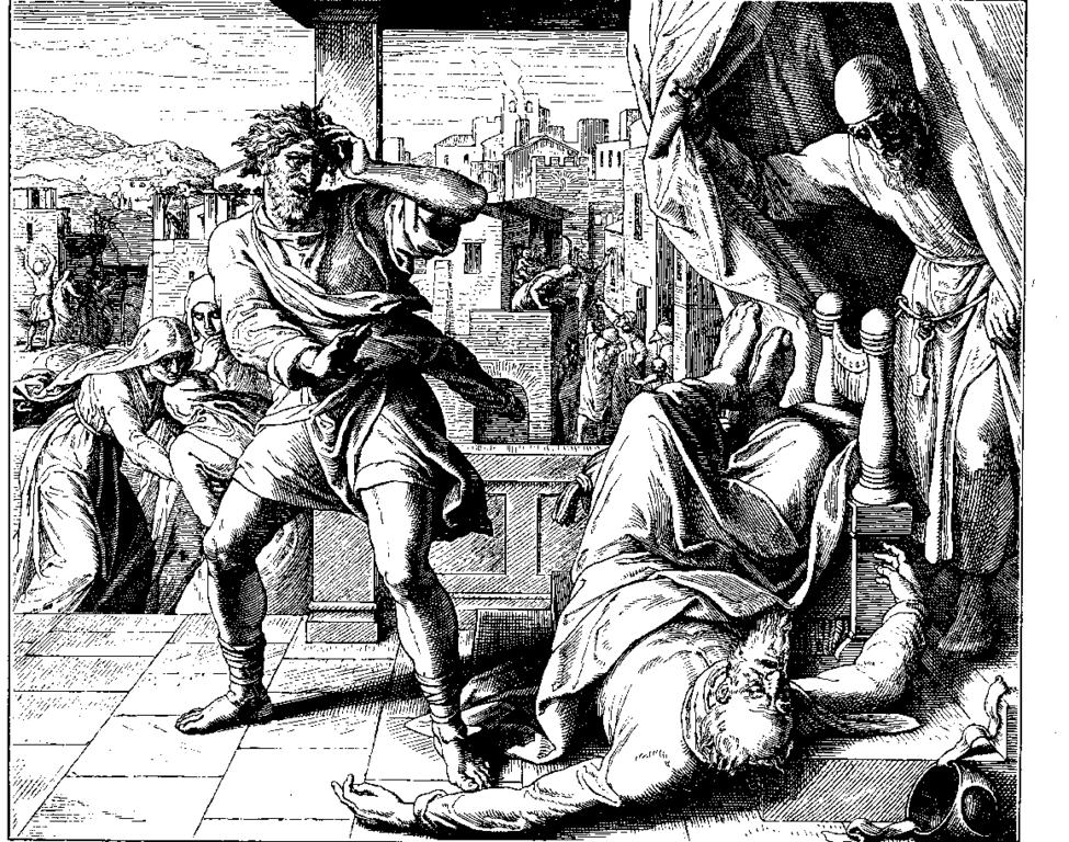 """Painting of """"Death of Eli"""" by Julius Schnorr von Karolsfeld"""