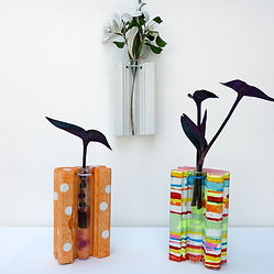 Paint & decorate our recycled timber and test tube vase to suit your home.
