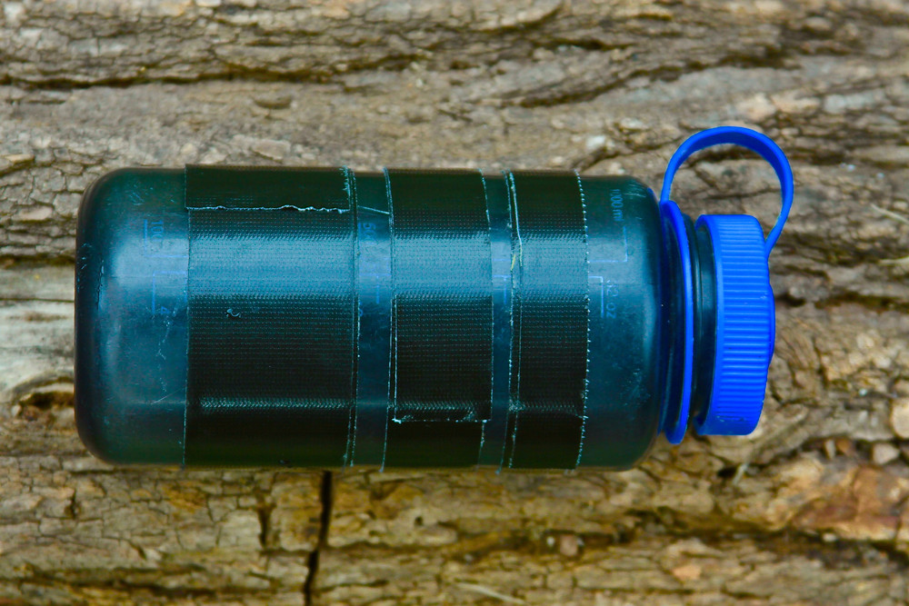 Tape Wrapped Water Bottle Showing Various Possible Widths