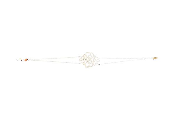 Double gourmette filigrane diamant