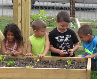 Children learn about nutrition through Project Self-Sufficiency's community gardens.