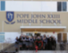 Pope John Middle School won the Stuff the Stocking trophy in 2017 and 2018.