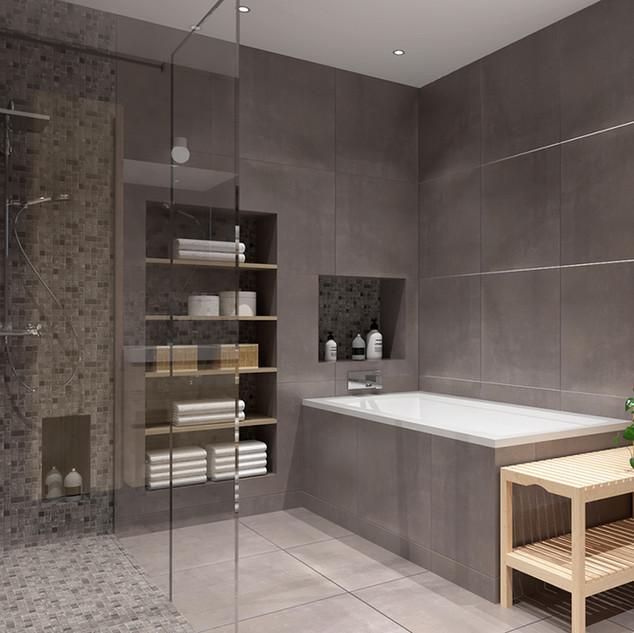 Agencement salle de bain et chambre