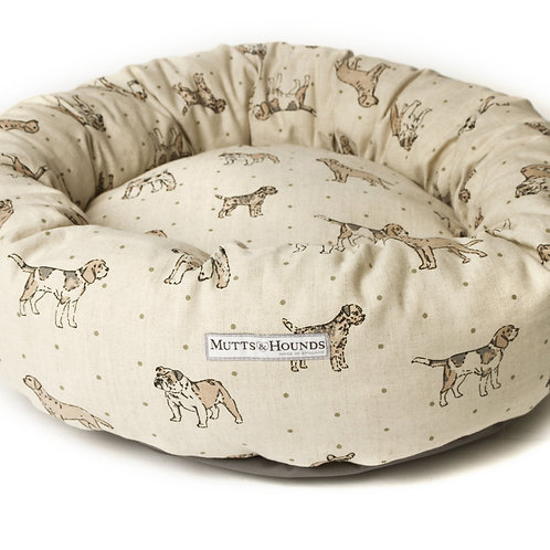 Natural Dog Print Donut Bed