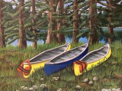 Canoes by a Minnesota Lake