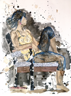 Girl In Chair Collage