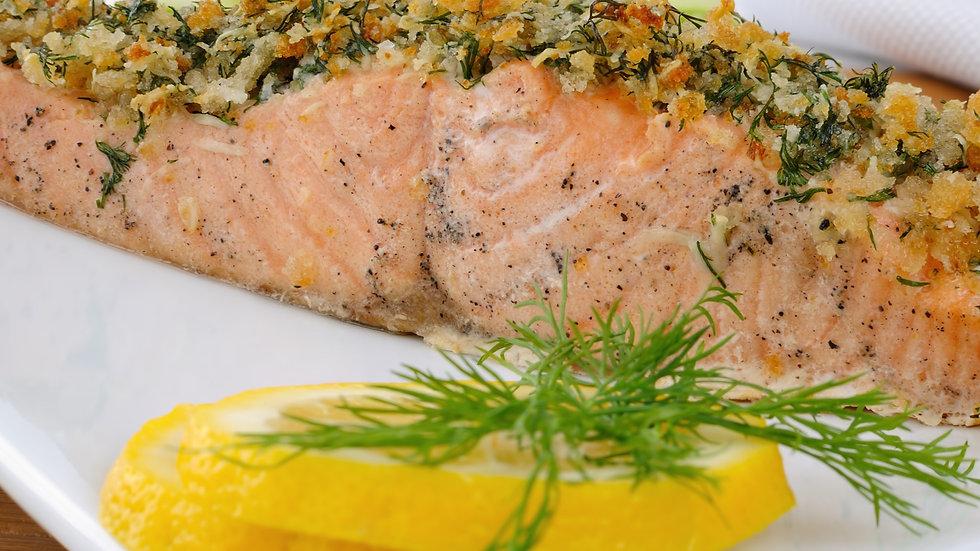 Lachsfilet mit Pinienkern-Parmesan-Kruste, Tagliatelle und Zitronen-Thymian-Soße