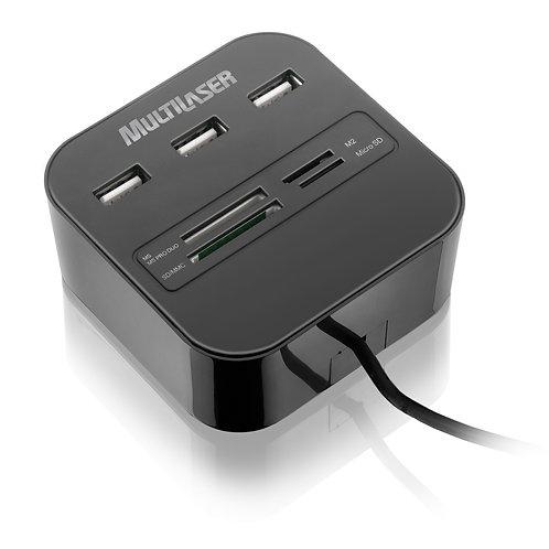 Hub Multilaser USB 3 Portas + Leitor de Cartão Universal 2.0