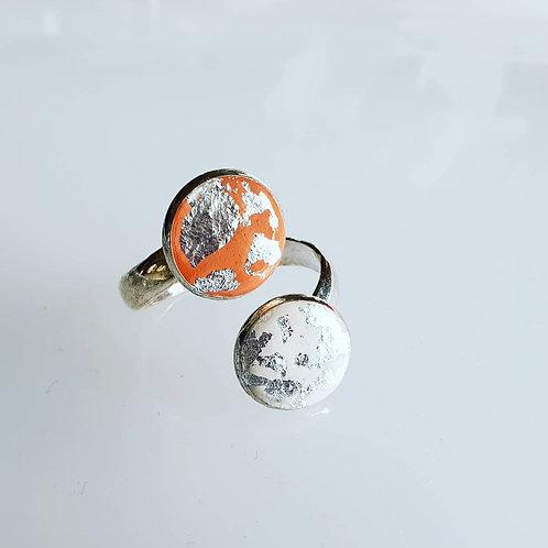 Dupla gyűrű ezüst pehellyel
