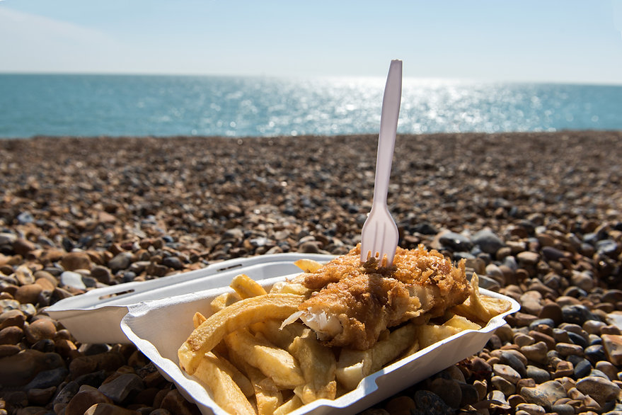 Delicious fish and Chips take away meal