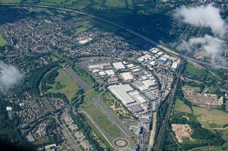 Aerial view of the historic Brooklands R
