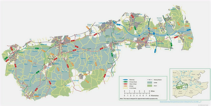 Map of the roads in the Surrey Hills AONB.