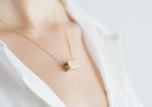 Golden Rectangle Necklace on Neck