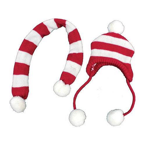 Ensemble bonnet et echarpe rayé rouge et blanc
