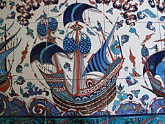 Iznik ceramic tiles nautic theme by Danielle Adjoubel