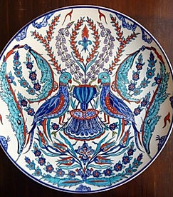 Iznik ceramic plate by Danielle Adjoubel - Love Birds