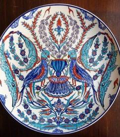 Iznik ceramic plate by Danielle Adjoubel - Love Birds
