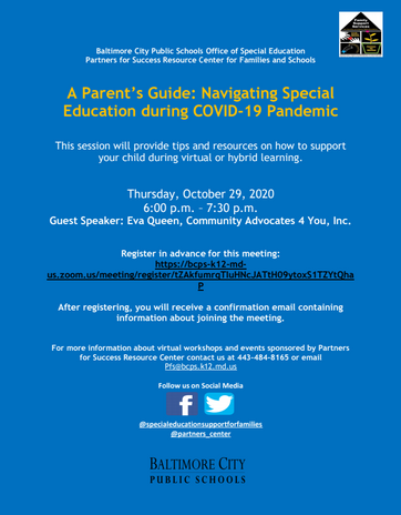 BCPS Special Education Parents Meeting