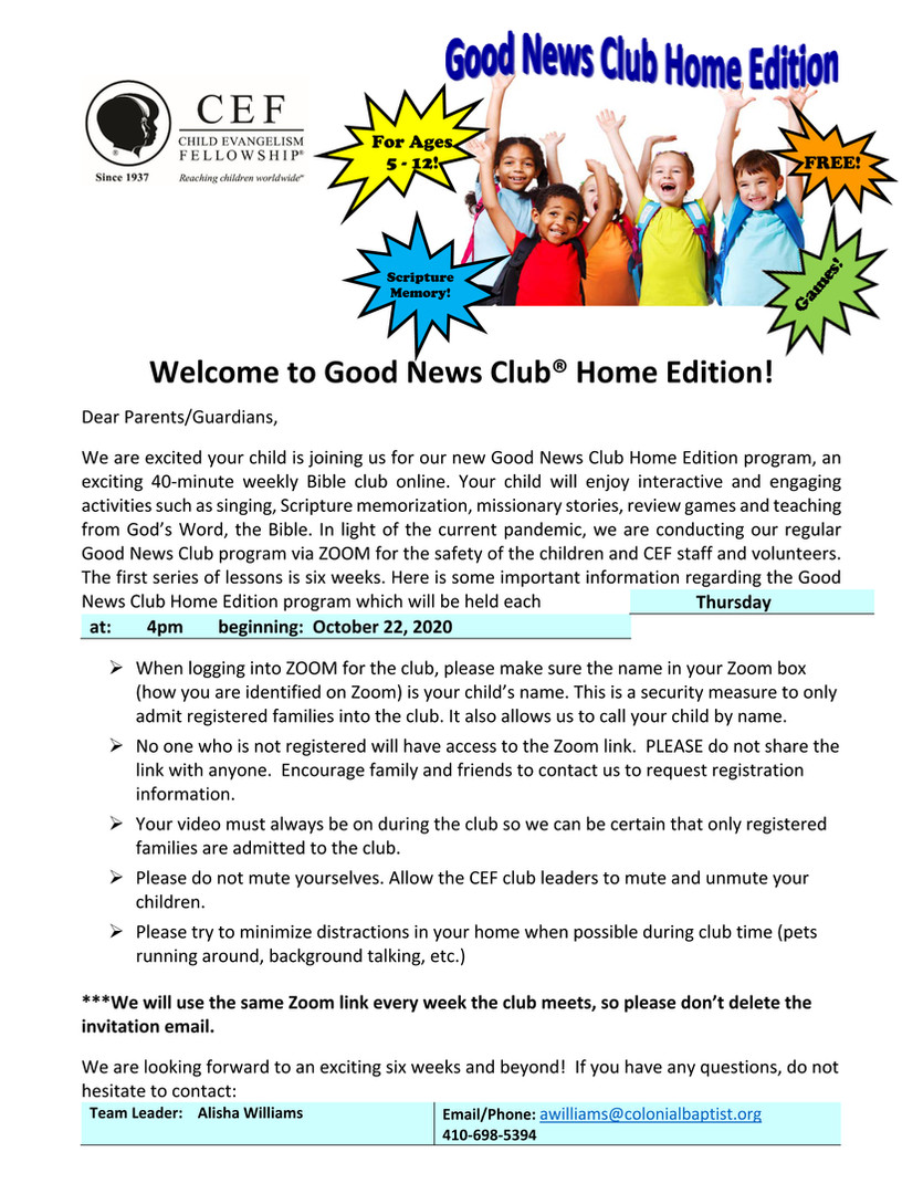 Good News Club - Home Edition!