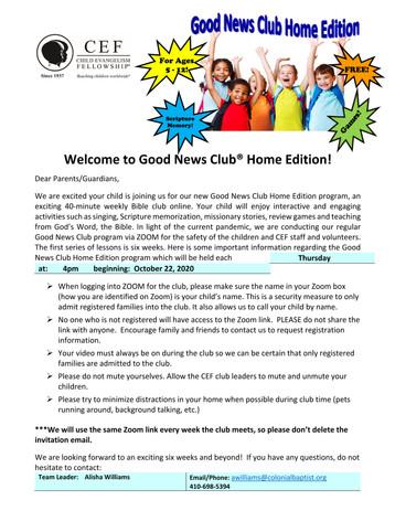 Good News Club - Home Edition!
