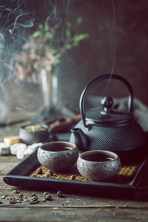Still-life of japanese healthy green tea
