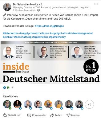 Repost Hr. Dr. Moritz - LinkedIN
