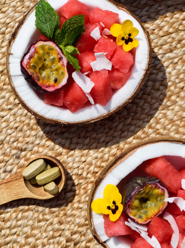 Melon in coconut