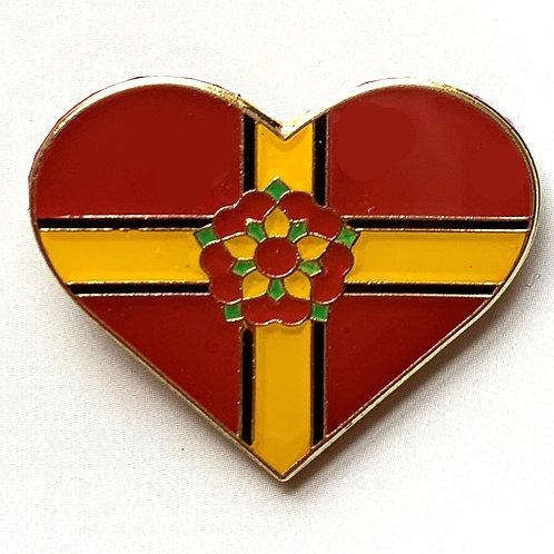 Northamptonshire Heart Pin Badge