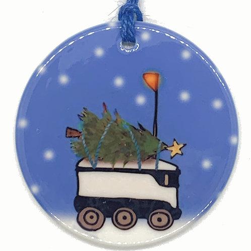 Robot Tree Ceramic Ornament