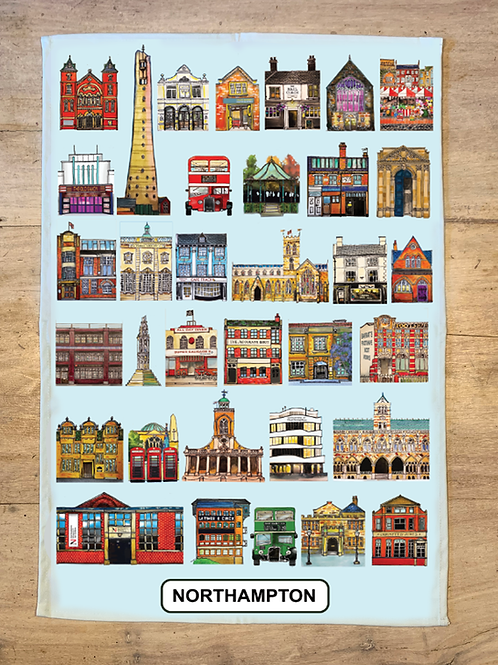 Blue Tea Towel - Landmarks v.5