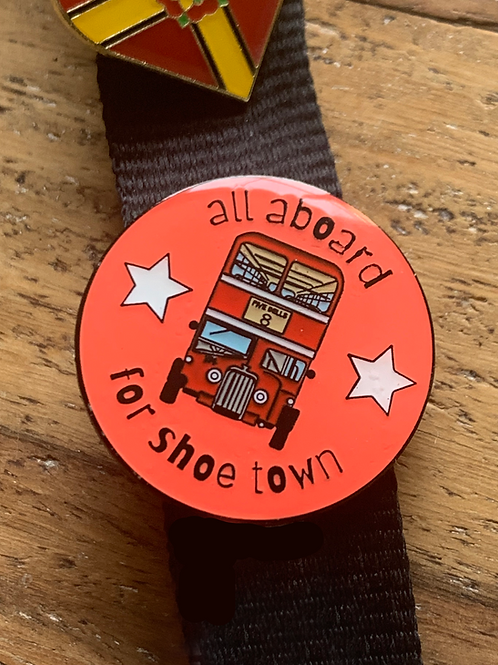 All Aboard for Shoetown Enamel Pin Badge