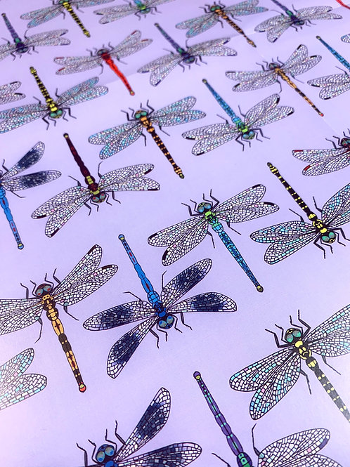 Dragonflies Gift Wrap - Lilac