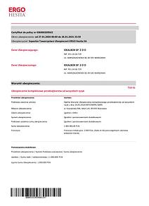 Certyfikat do polisy nr 436000209562 IDE