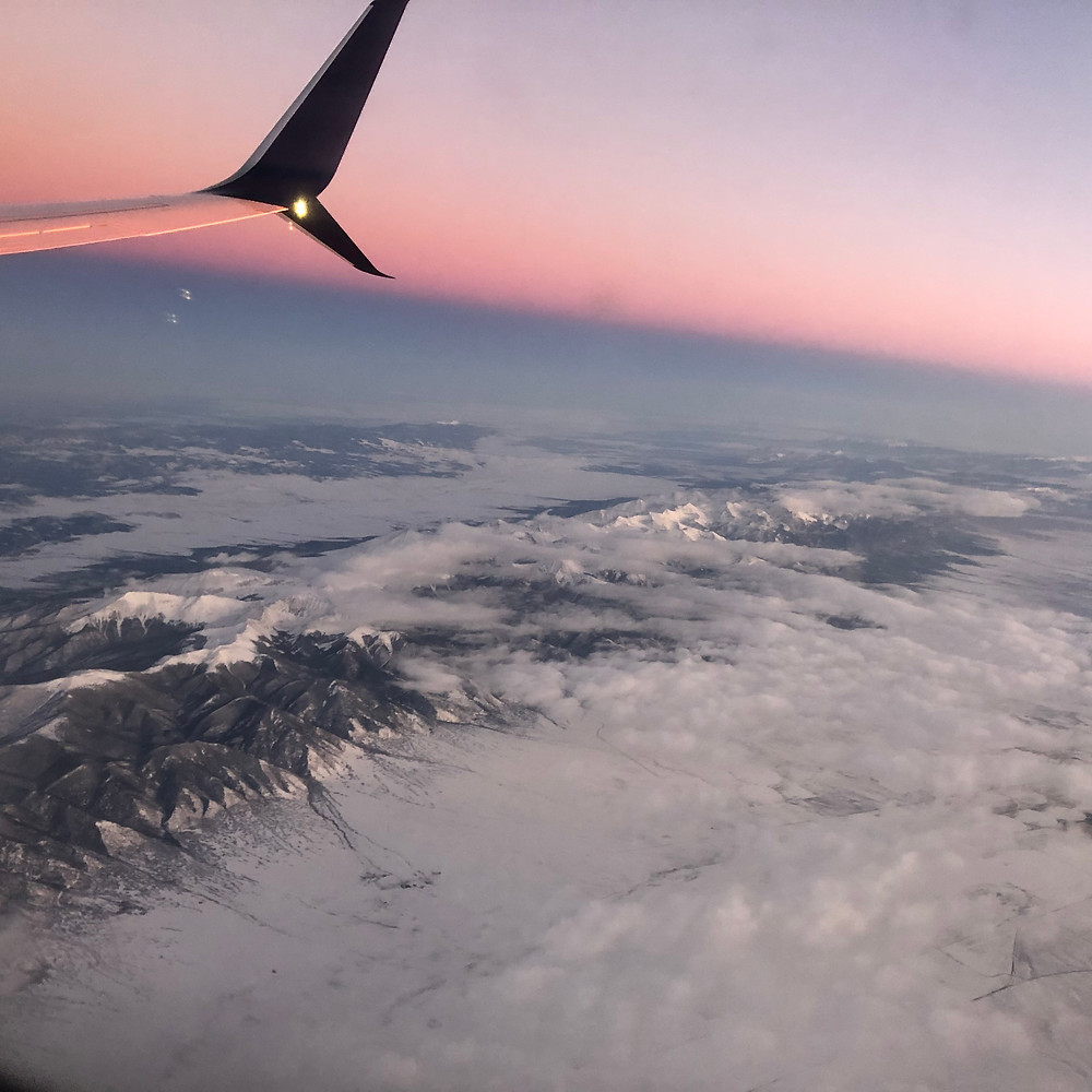 mountain view from airplane window