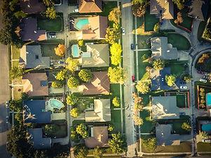 Vintage tone aerial vertical view reside