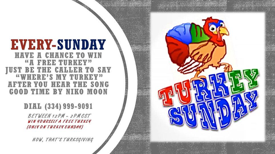 Turkey Sunday Give A Way 12pm-2pm CST