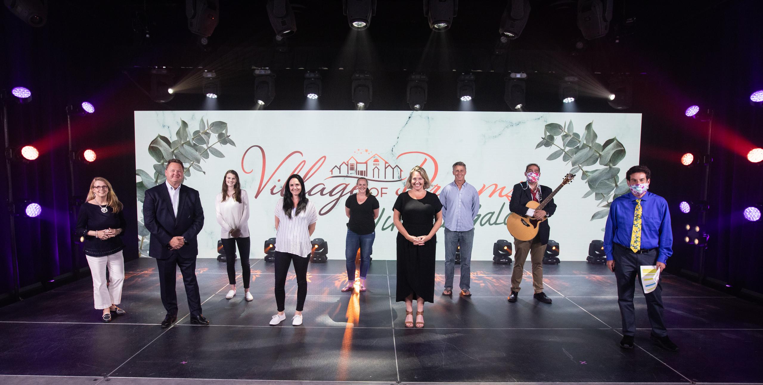 Riverview School's virtual gala team on stage in virtual studio