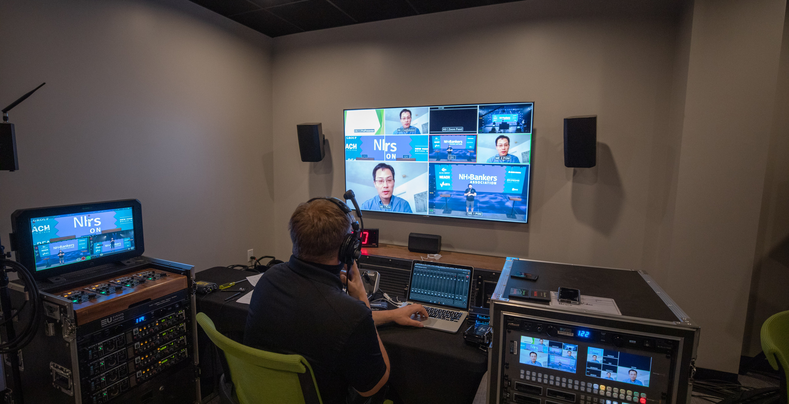 video switcher in video control room for NH Bankers Association in virtual studio